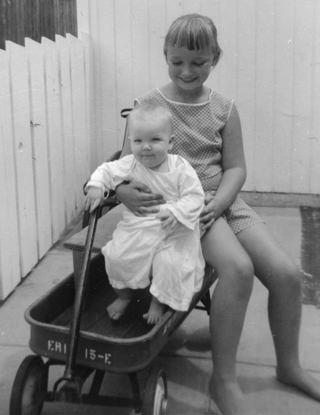 Holding Nick on wagon