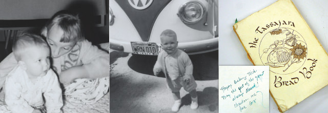 Nick with me, Nick next to VW Bus, The Tassajara Bread Book