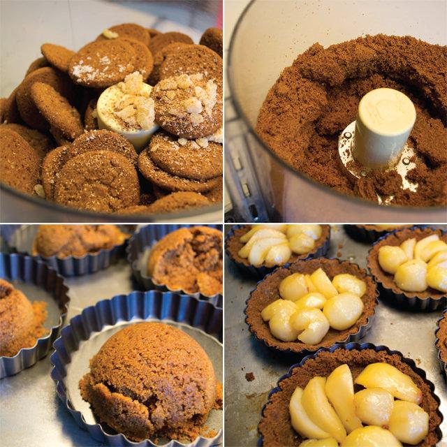 Preparing the tarts for baking