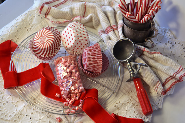 My Red Velvet Cupcakes with White Chocolate Peppermint Frosting tool kit
