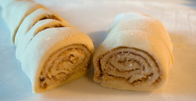 Cinnamon dough rolled