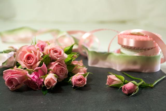 Freshly-picked pink garden roses