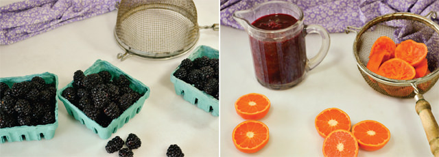 Preparing blackberries and mandarins