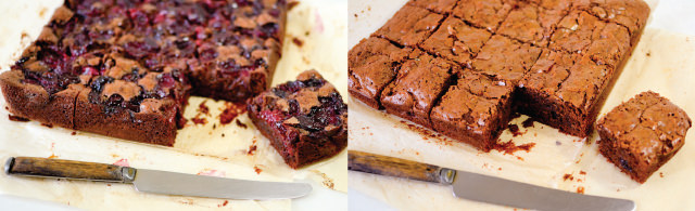 Brownies two ways—with fresh Bing cherries and with tart, dried cherries