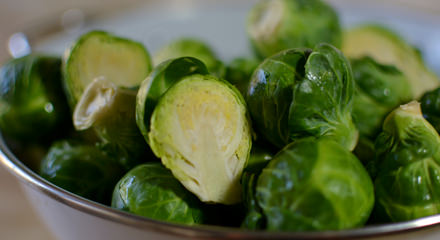 Freshly-cut Brussels sprouts