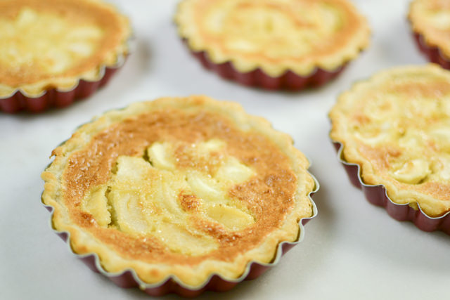 Freshly-baked apple almond tarts