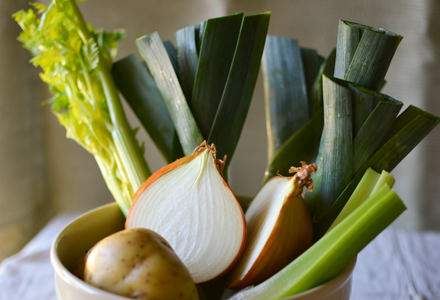 Celery, leeks, onions, and potatoes for soup