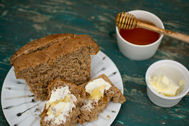 Wheat Berry Bread with honey