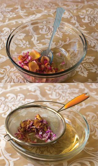 Making rose syrup