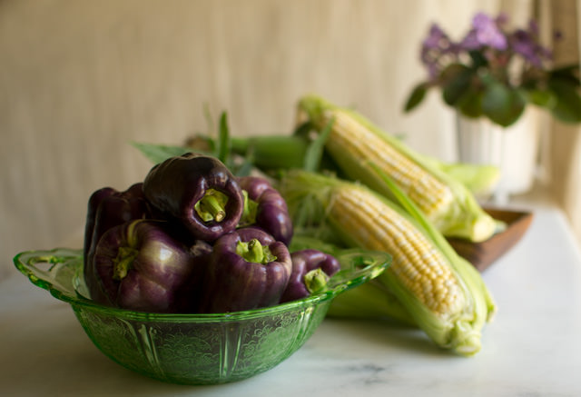 Purple bell peppers and corn