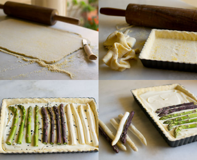 Preparing asparagus tart