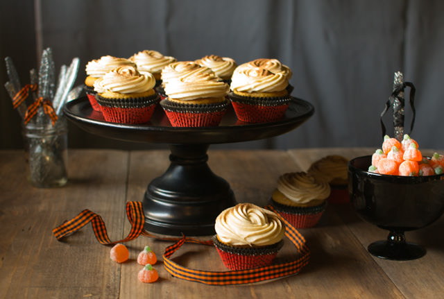 Halloween Pumpkin Spice Cupcakes with Orange Caramel Cream Cheese Frosting