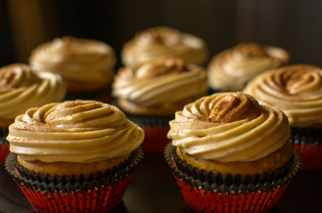 Pumpkin Spice Cupcakes with Orange Caramel Cream Cheese Frosting
