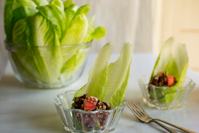 Red Rice and Apple Salad with Romaine Spears