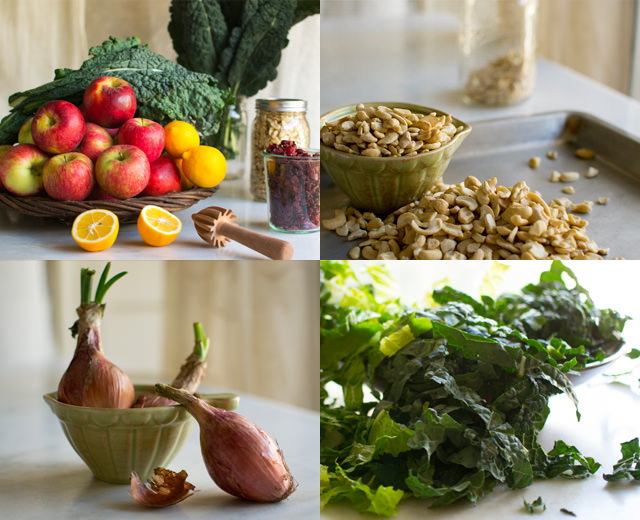 Preparing Kale Apple Salad with Cashews