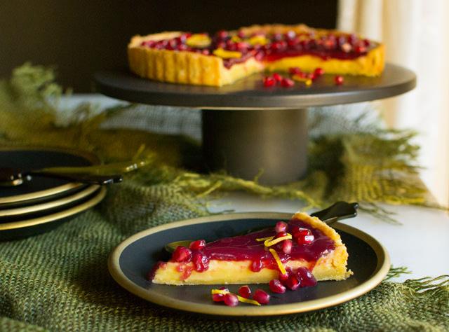 Tangy Lemon and Pomegranate Tart