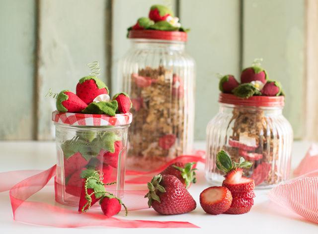 Strawberry granola jars