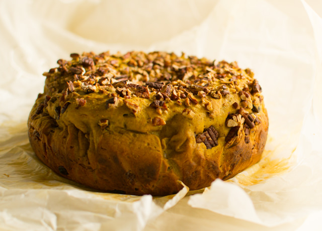Yeasted Pumpkin Bread with Cranberries, Pecans and Browned Butter