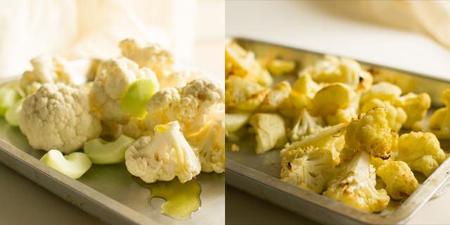 Roasting cauliflower and apples