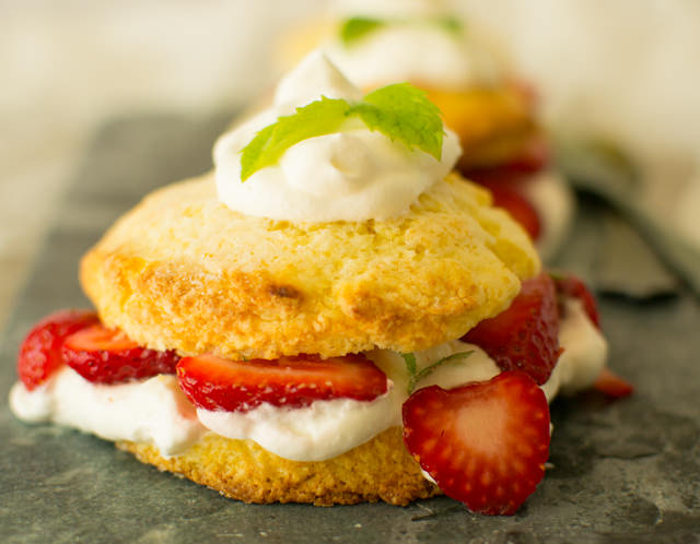 Buttermilk Shortcake with Strawberries and Mint
