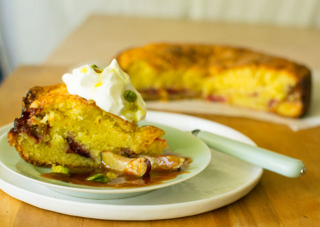 Creme Fraiche Plum Cake with Pistachios and Whipping Cream