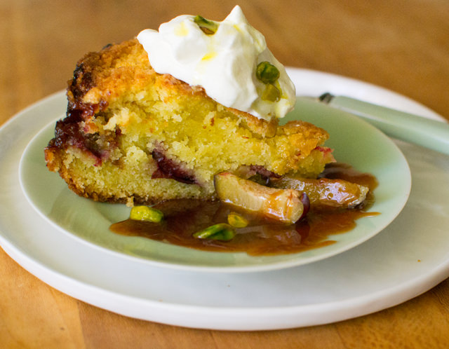 Creme Fraiche Cake with Plums and Pistachios in Olive Oil