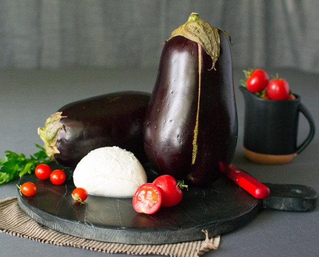 Eggplant, Buffalo Mozzarella, Tomatoes