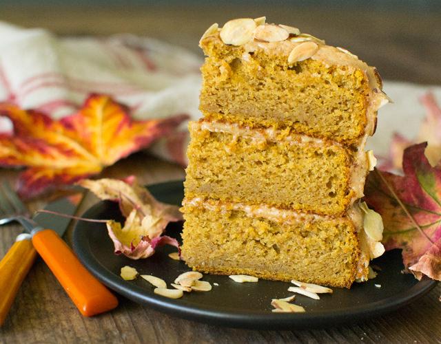 Pumpkin Almond Cake with Almond Butter