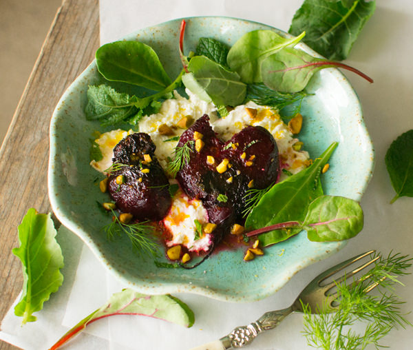 Smashed Beet Salad with Lemon and Pistachio