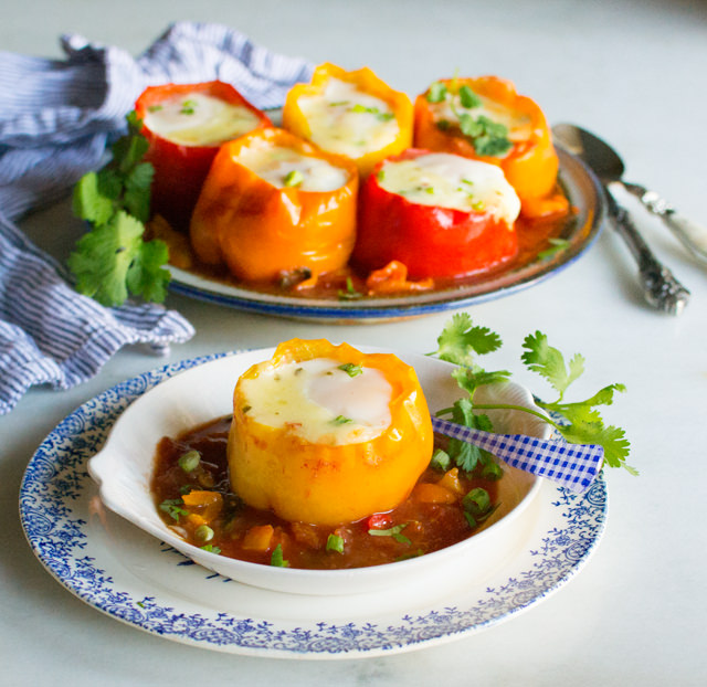 Spicy Egg Topped Bell Peppers