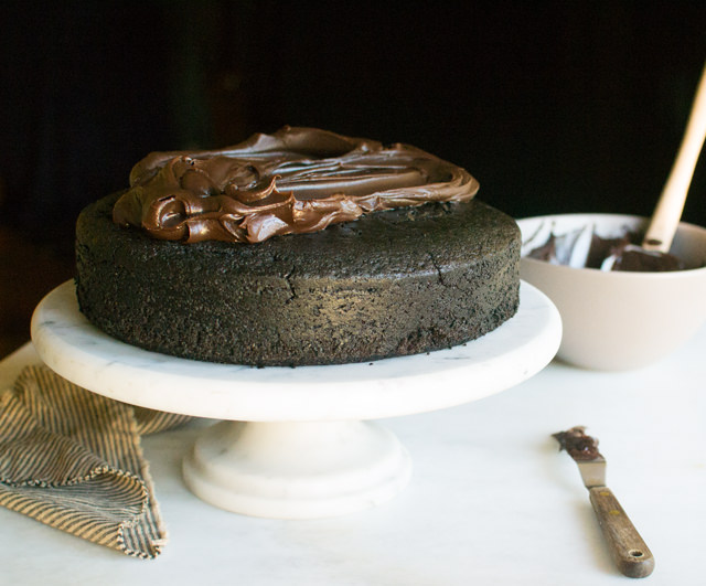 Ganache, Pumpkin Pie inside a Chocolate Cake