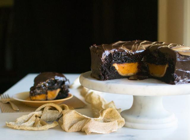 Pumpkin Pie Inside a Chocolate Cake