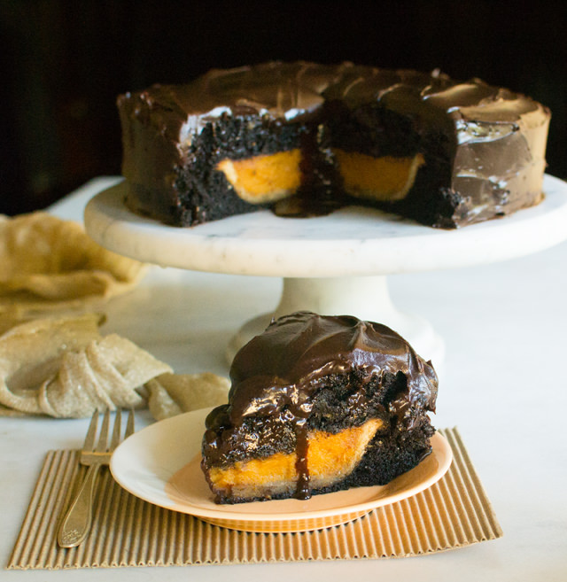 Pumpkin Pie Inside a Chocolate Cake