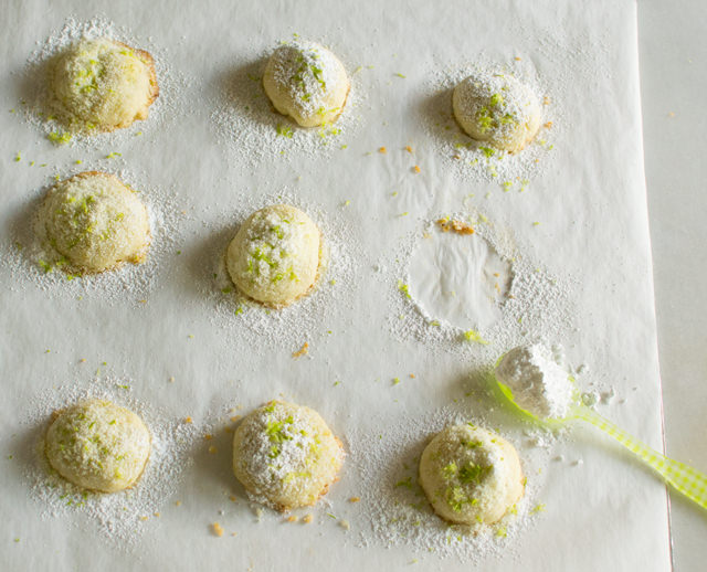 Lime Snowball Cookies