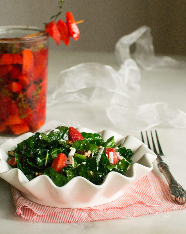 Kale Salad with Quick Pickled Strawberries
