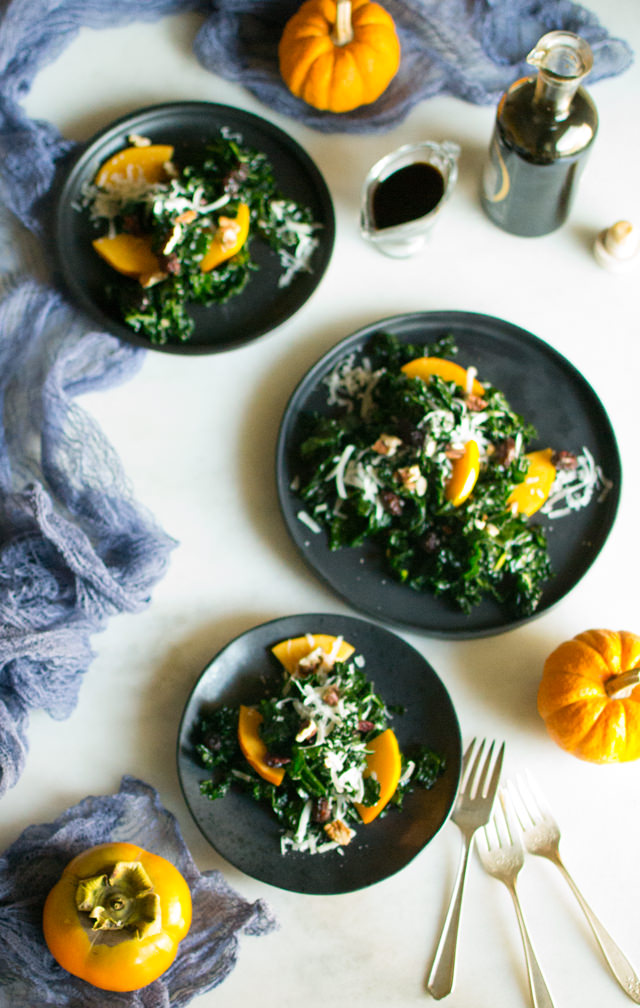 Kale Salad with Balsamic Dressing and Persimmons