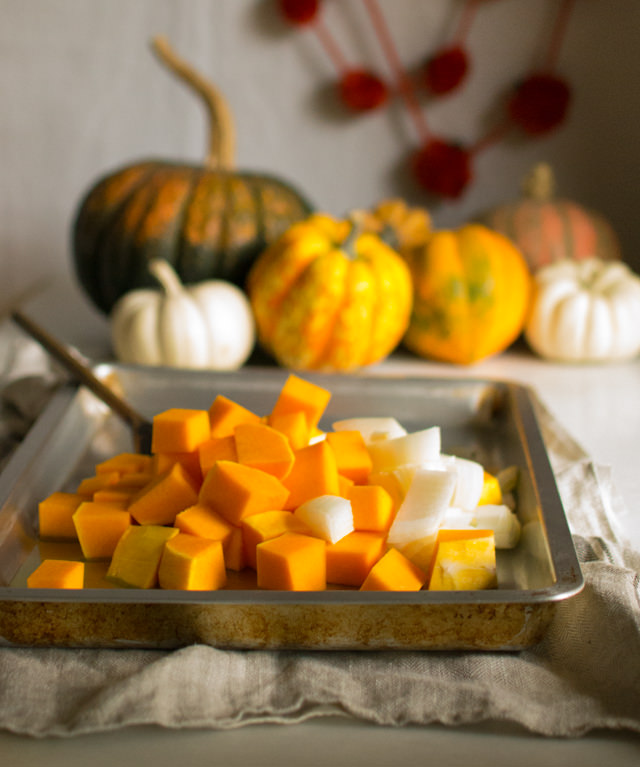 Making Roasted Butternut Squash Soup with Apples and Coconut Milk
