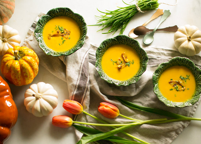 Roasted Butternut Squash Soup with Apples and Coconut Milk